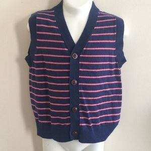 Janie and Jack pink/navy button front sweater vest